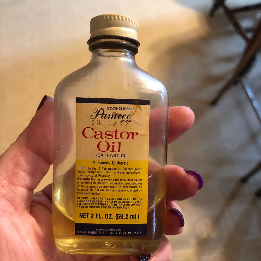 Score! A bottle of Pameco Castor Oil that expired in 1982. Found in a family member's medicine cabinet.