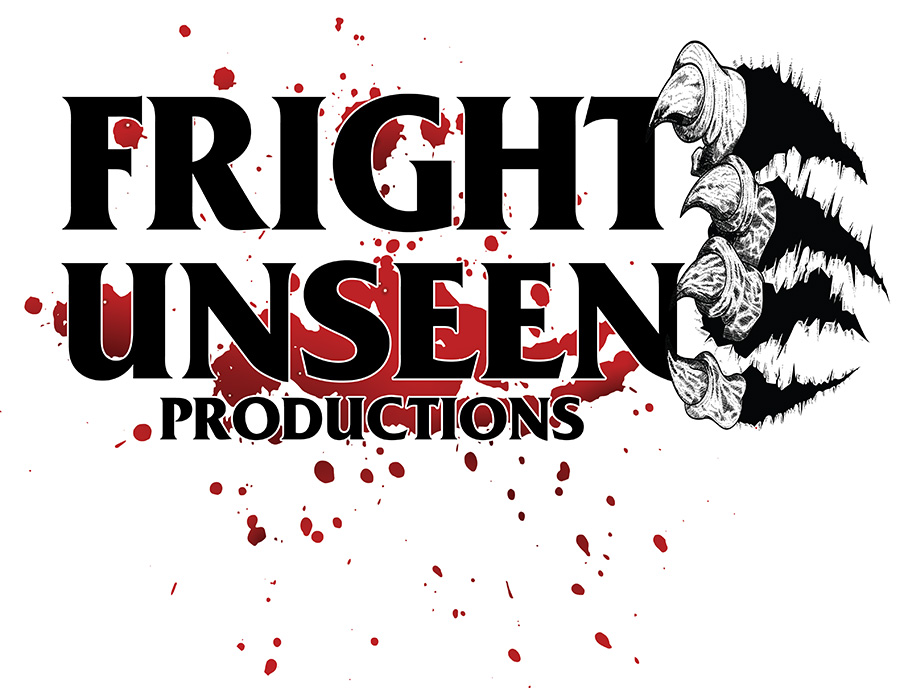 Logo - blood splatter with the words Fright Unseen Productions, stacked. Claw tips come out, holding the edges of the T and N.