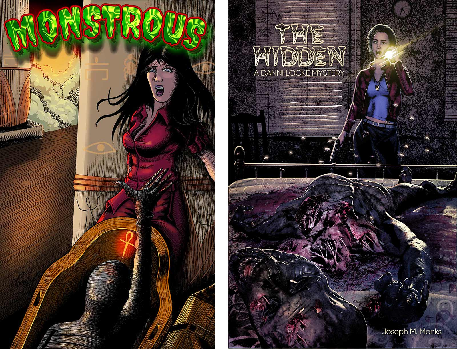 Covers to Monstrous and The Hidden