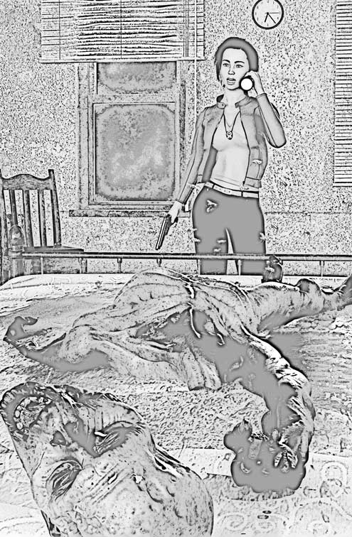 Pencil illustration of a woman standing at the end of a bed with a gun in one hand. She's shining a flashlight in a beheaded, decaying corpse.